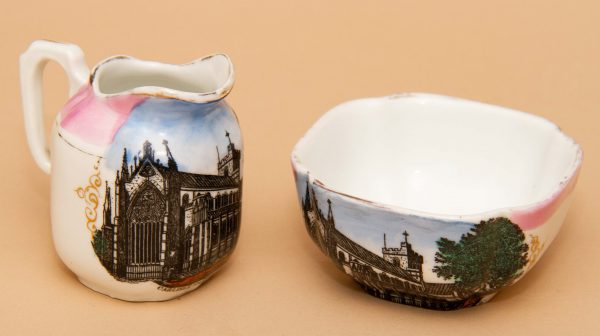 Vintage Souvenir pottery, Antique Topographical Souvenir – Carlisle Cathedral Small Jug and Bowl Set – Made in Germany