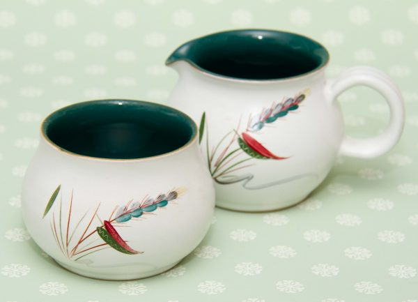 Greenwheat Jug and Sugar Bowl, Denby Greenwheat Jug and Sugar Bowl Set Signed Albert Colledge Hand Painted English Stoneware Vintage Pottery