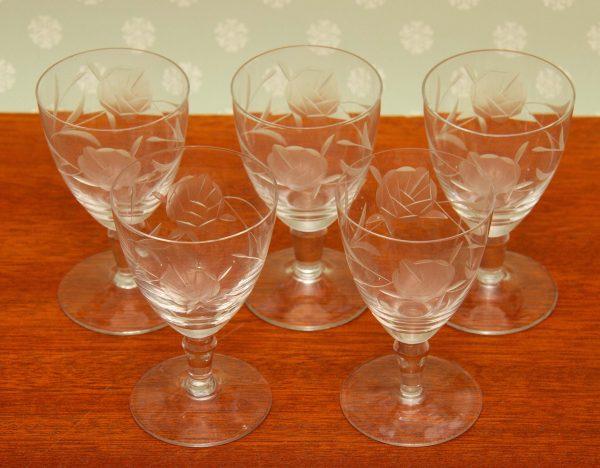 cut rose vintage cordial glass, Fine Cut Rose Pattern Vintage Cordial Glasses Set of 5 Stemmed Small Glasses