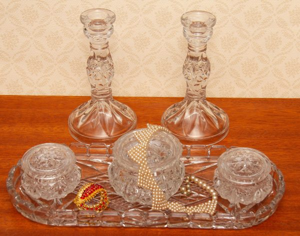 1930's Sowerby Clear Glass Dressing Table Set, 1930's Sowerby Clear Glass Dressing Table Set – Tray, Candlesticks 3 Trinket Pots