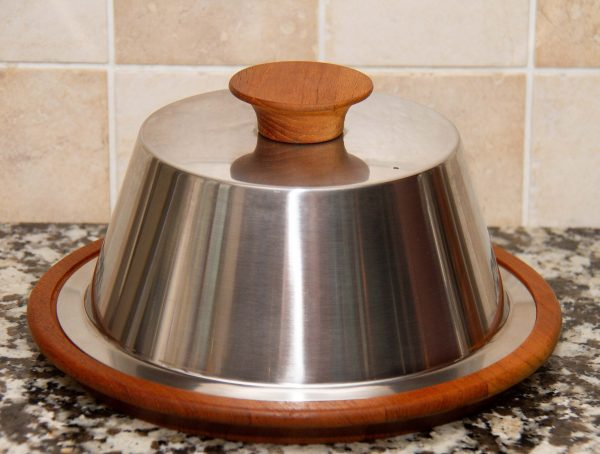 vintage stainless steel teak cheese dome, Mid Century Modern Vintage Stainless Steel Cheese Dome and Teak Cheese Board