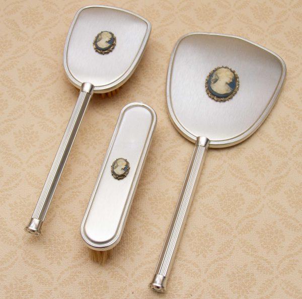 Vintage Dressing Table Set Silver Metal, Dressing Table Set Mirror Brush