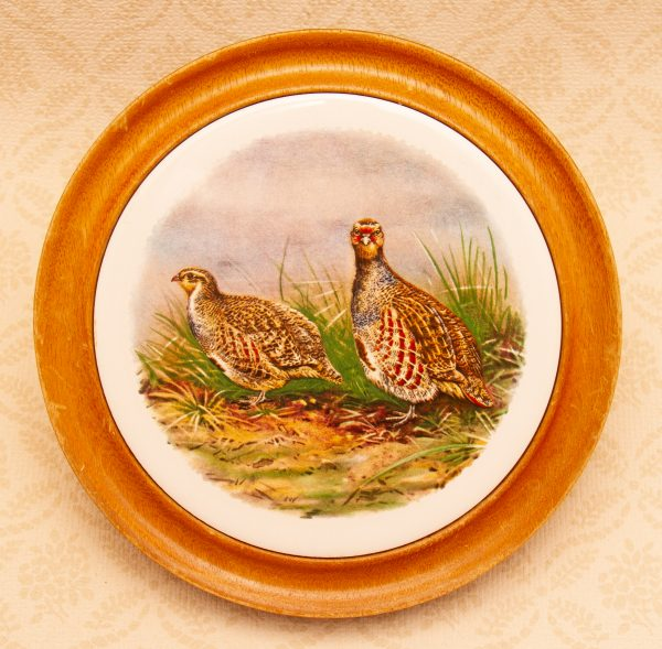 game bird wall plaque, Countryside Grouse, Game Bird Scene Ceramic Tile Hand Turned Wood Wall Plaque