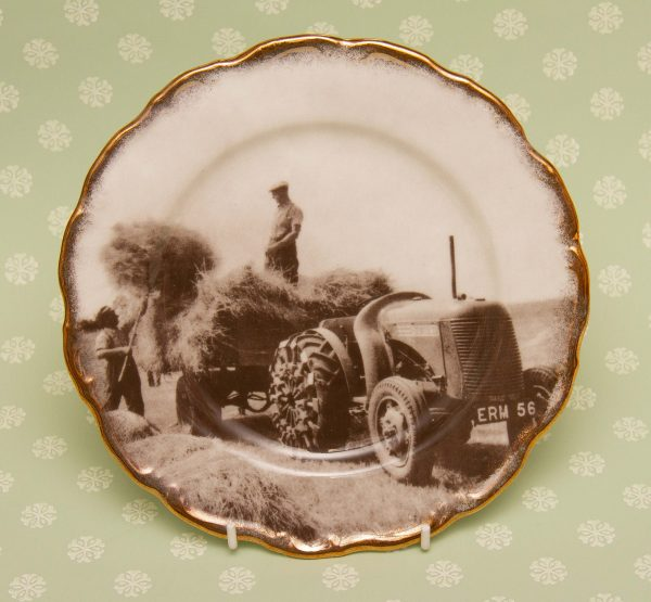 """agricultural tractor china plate, Nelson Fine Bone China """"Loading Hay – July 1942"""" Agricultural Scenes Collectors Picture Plate"""