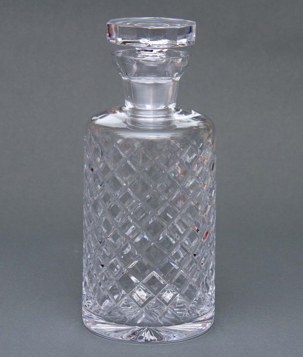 Crystal Teardrop Decanter, Crystal Glass Criss Cross Cut Drinks Decanter With Stopper, Vintage Bar Decor
