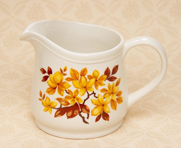 Sadler Yellow and Brown Floral Flower Jug, Vintage Sadler Yellow and Brown Floral Flower Pattern Jug Vase