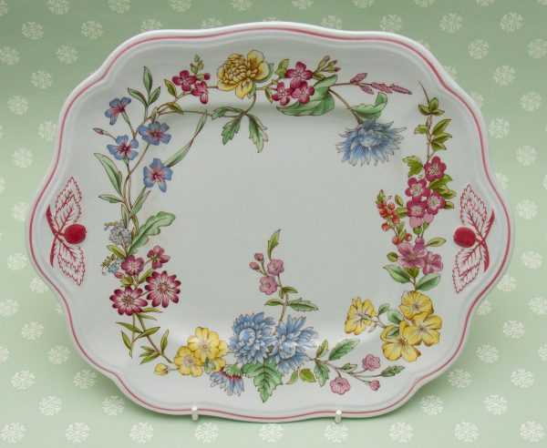 Spode Romany Cake Plate, Spode Romany Cake Plate Serving Platter Square With Handles