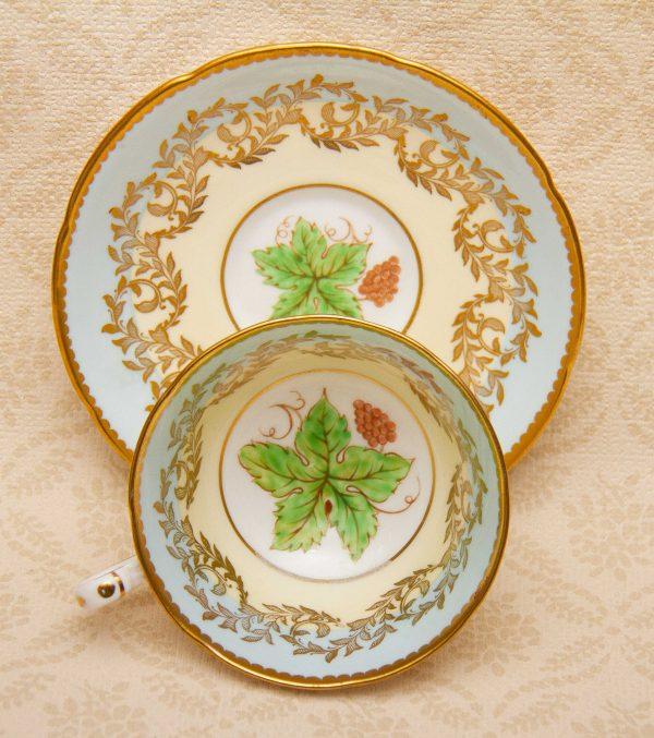 Royal Kent tea cup, Royal Grafton Grape Vine Leaf Tea Cup and Saucer Set English Fine Bone China