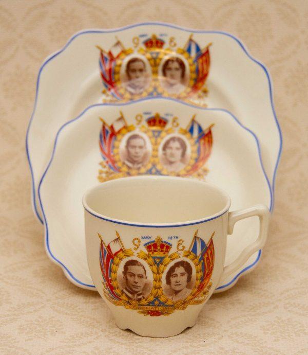 King George VI Coronation Trio, King George VI Coronation 1937 Tea Cup, Saucer, Plate Trio with Princess Elizabeth