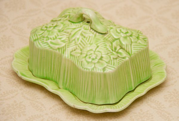 Art Deco Butter Dish, Art Deco Covered Butter Dish, Green Floral Embossed Pattern