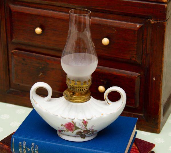 Porcelain Vintage Oil Lamp, Small Porcelain Vintage Oil Lamp Pink Rose Design, Glass Chimney