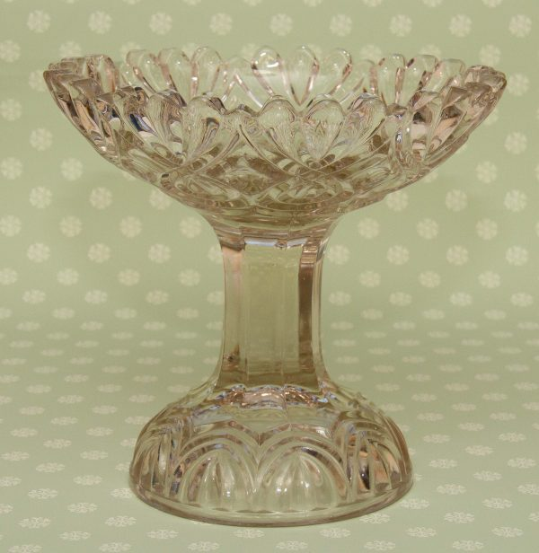 Victorian Pressed Glass Tazza, Large Heavy Vintage Glass Tazza, Comport, Footed Dish