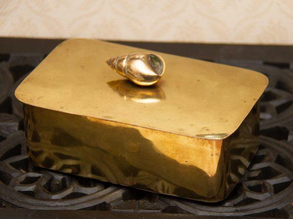 Brass Trinket Box, Brass Box With Lid Seashell Handle Trinket Jewellery Box