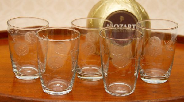 cut rose vintage glass, Fine Cut Rose Pattern Vintage Set 5 Small Tumblers, Water Glasses