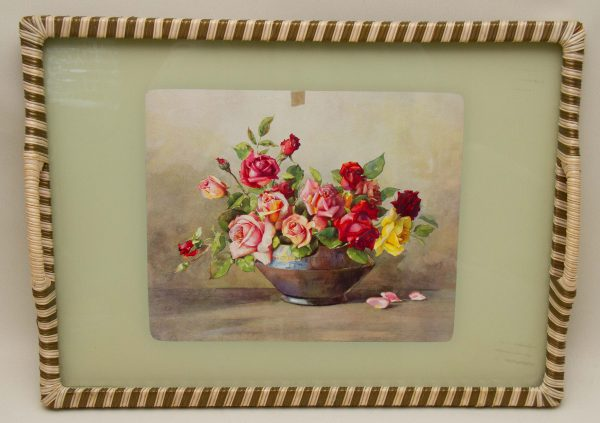 vintage floral picture tray, Large Floral Picture Vintage Serving Tray, Bowl of Roses, Woven Edge Glass Top Tea Tray