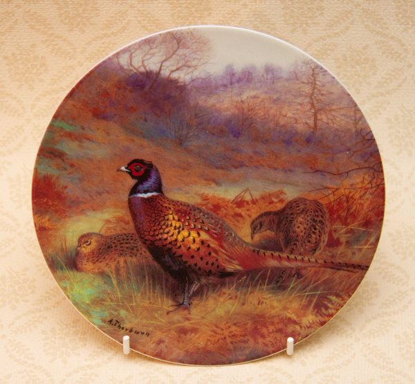 Pheasant in a Autumn Wood By Archibald Thorburn, Pheasant in a Autumn Wood By Archibald Thorburn Gamebirds Collectors Picture Plate