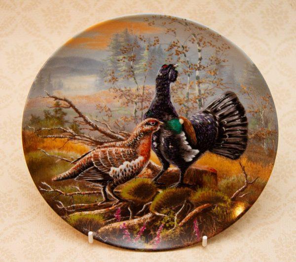 """Kaiser Porcelain Wood Grouse, Capercaillie Kaiser Porcelain Wood Grouse Gamebirds Picture Plate """"Auerhahn auf Freiersfüßen"""""""