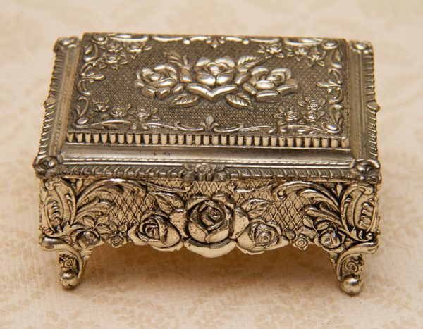 Silver Plate Trinket Jewellery Box, Ornate Vintage 1950's Silver Plate Trinket Jewellery Box Made in Japan