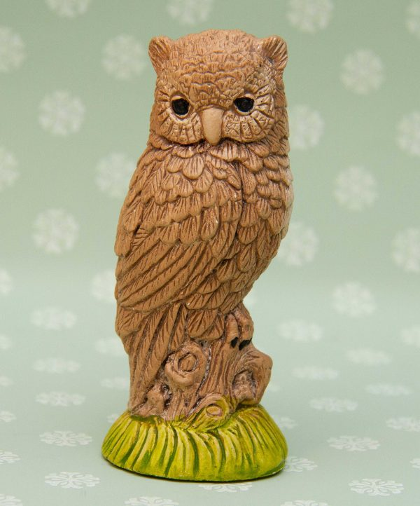 Owl figurine ornament, Brown Owl Figurine, Bird Ornament
