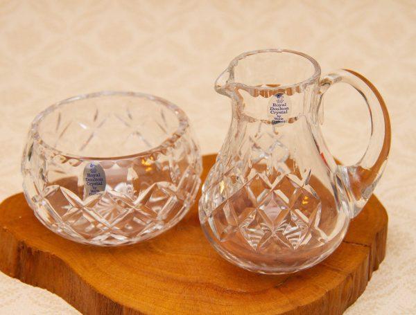 Royal Doulton Crystal, Royal Doulton Crystal Glass Creamer & Sugar Bowl By Webb Corbett