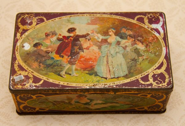 Mazawattee Tea Tin, Antique Mazawattee Tea Tin Romantic Garden Party Scene Vintage English 2 Pound Tin