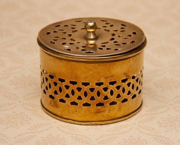 Brass Pot Pourri Box, Indian Brass Pierce Work Pot Pourri, Incense, Trinket Box