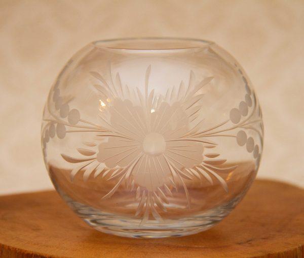 Glass globe tea light holder, Large Etched Glass Globe Posy Bowl or Tea Light Candle Holder