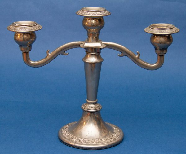 3 Arm Silver Plated Candelabra, Antique Silver Plated 3 Arm Candelabra Candlestick Candle Holder