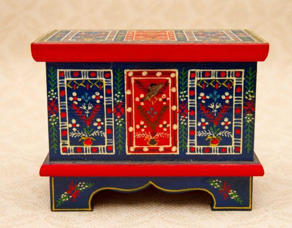 Folk Art Locking Chest, Small Hand Painted Krakow Locking Chest Polish Folk Art Jewellery Treasure Box