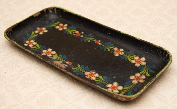 painted distressed vintage wood tray, Vintage Distressed Black Painted Wooden Tray Hand Painted Flowers