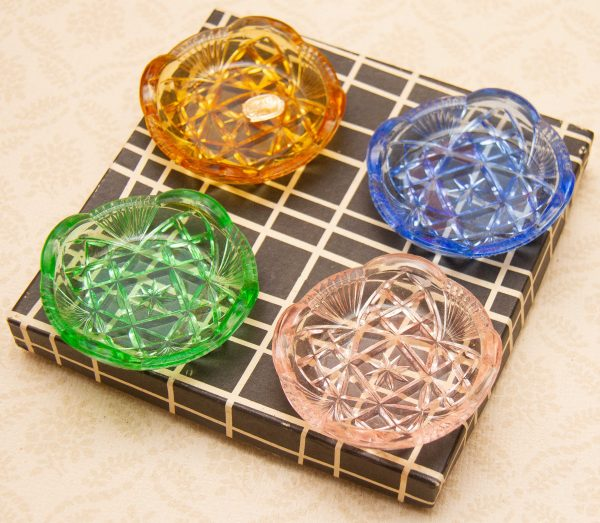 1950's 1960's Bohemia Crystal Glass, Bohemia Crystal Set Of 4 Small Coloured Vintage Czech Glass Dishes In Box 1950's/1960's
