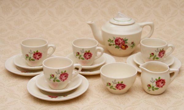 Biltons China Childs Dolls Tea Set, Vintage Biltons Pink Rose China Childs Dolls Tea Set, Tea Pot, Cups, Plates