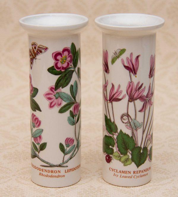 Portmeirion Botanical Garden, Portmeirion Botanic Garden 2 Bud Vases Rhododendron, Ivy Leaf Cyclamen – Older Backstamp