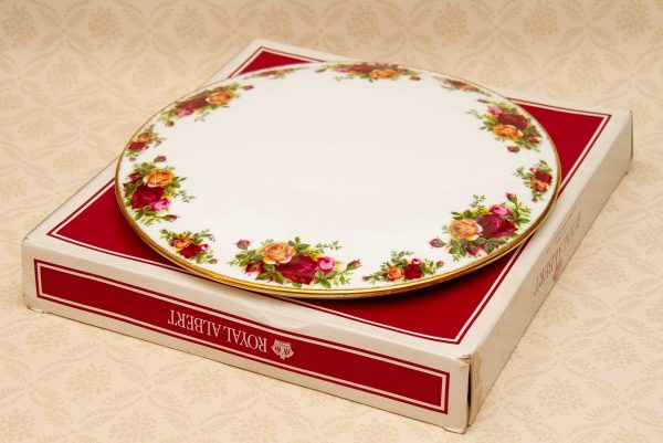 Royal Albert Old Country Roses, Royal Albert Old Country Roses Cake / Gateau Stand Large Plate in Box