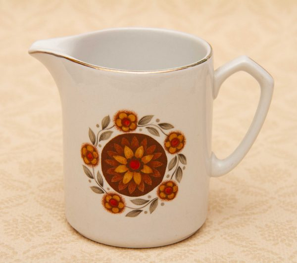 vintage mid century jug, Alfred Meakin Glo-white Ironstone Jug Brown Floral Pattern, Mid Century Pottery