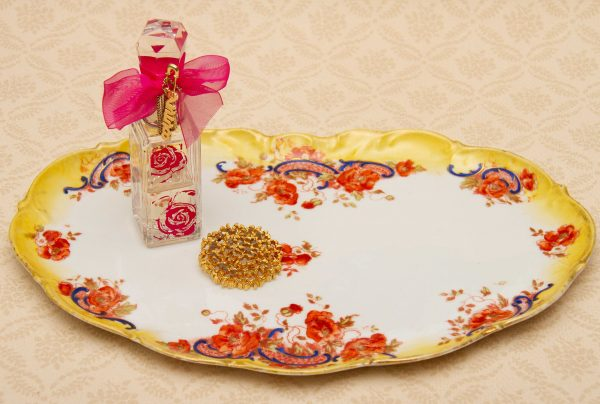 Large Limoges French Porcelain Decorative Plate, Antique Imari Dressing Table Tray Yellow Edge
