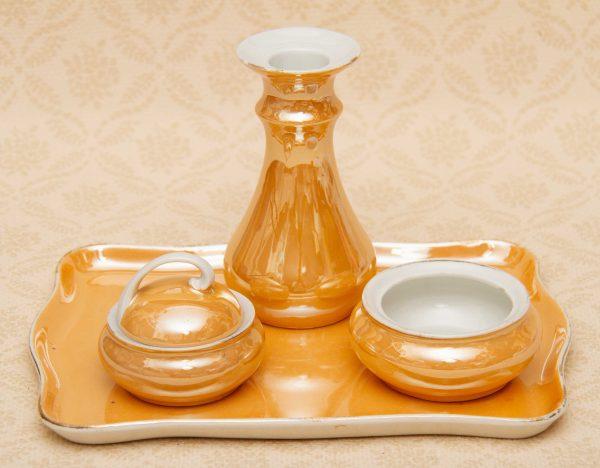German Porcelain Dressing Table Set, German Porcelain Dressing Table Set – Amber Lustre Glaze Tray, Candlestick 2 Trinket Pots