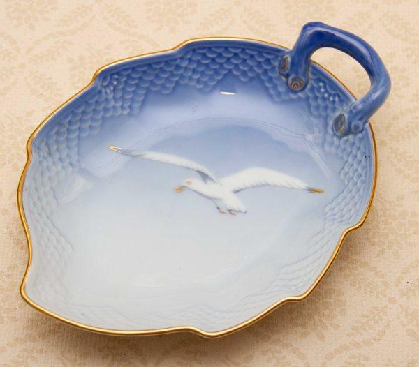 Danish porcelain seagull dish, Bing & Grondahl B&G COPENHAGEN Porcelain Blue Seagull Leaf Dish Denmark