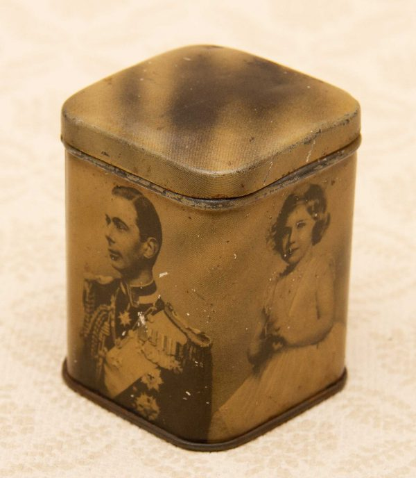 King George Royal Tin, Small Vintage Tin – King George VI Coronation, Queen Elizabeth, Royal Princesses