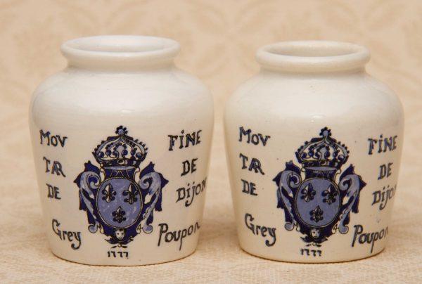French Dijon Poupon Mustard Jars, French Dijon Poupon Mustard Jars, Blue and White Vintage Decorative Pots – Kitchenalia