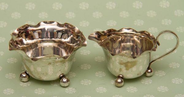 Royal Doulton Crystal, Silver Plated Vintage Creamer Jug & Sugar Bowl, Frill Edge and Ball Feet