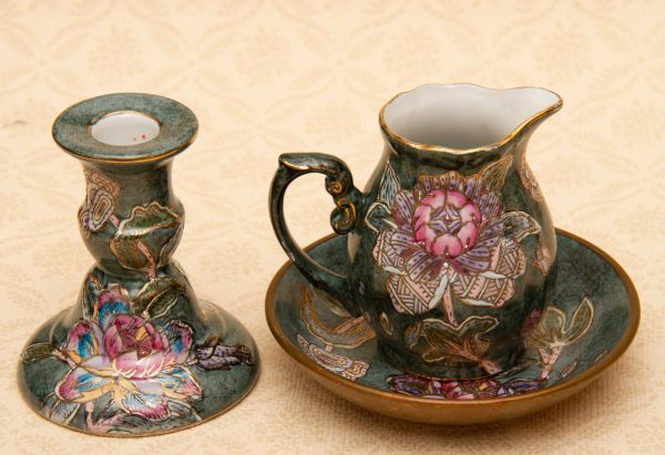 Toyo Japan Hand painted pottery, Toyo Japan Hand Painted Vintage Pottery Jug, Bowl, Candlestick Set – Made in Japan