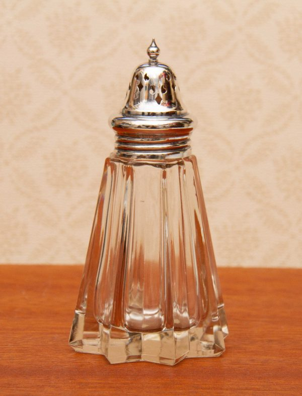 Czechoslovakian Glass shaker sifter, Czechoslovakian Glass Star Sugar Shaker Sifter  – Chocolate Powder Sprinkler With Silver Plated Top