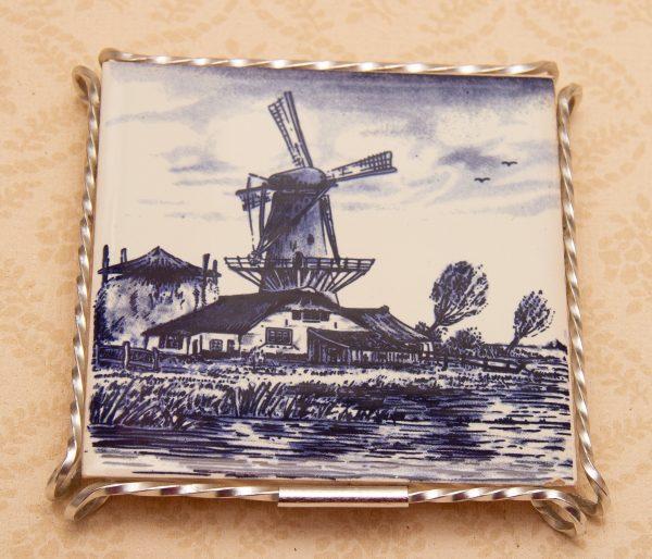 Delft Small Table Lamp, Delft Blue & White Windmill Tile Trivet Pot Stand, Dutch, Holland