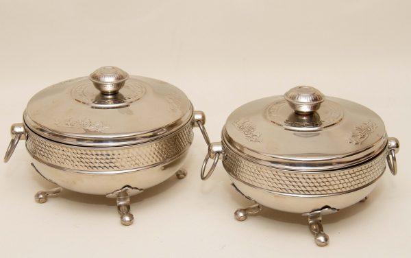 Entrée Covered Serving Dishes, Set of 2 Vintage Aluminium Entrée Covered Serving Dishes