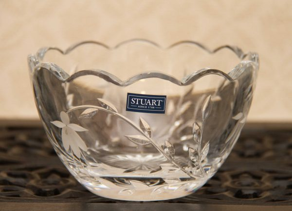 Stuart Crystal Tea Light Holder, Stuart Crystal Cascade Fuchsia Glass Bowl, Tea Light Holder, Trinket Dish