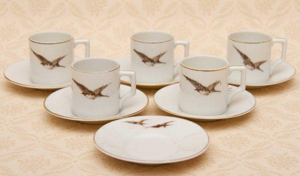 Verbano Laveno Porcelain Italian, Vintage Verbano Laveno Porcelain Italian Demitasse Cups & Saucers Set Flying Birds