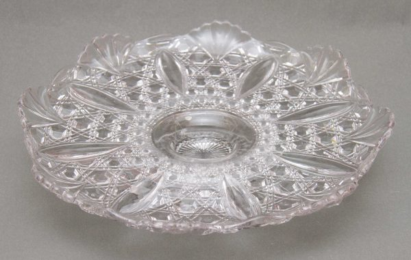 Victorian glass Cake Stand, Victorian Pressed Glass Footed Cake Stand, Greener & Co Sunderland 1890