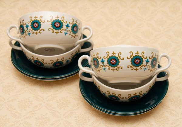 Ridgway Contessa soup bowls, Ridgway Contessa Vintage Soup Desert Bowls With Handles Set of 4 with Plates