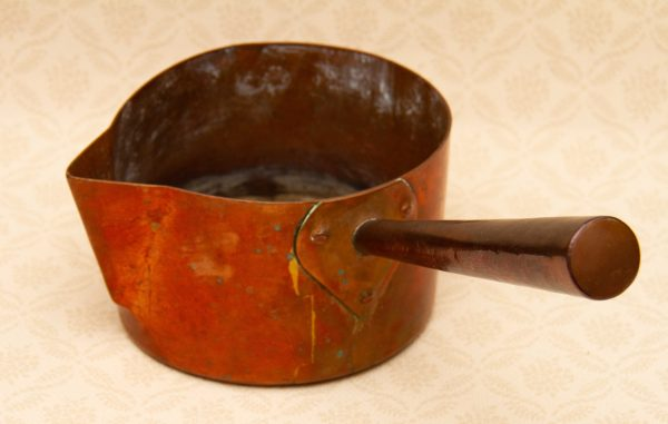 , Heavy Antique Victorian Copper Pouring Pan Saucepan With Copper Handle